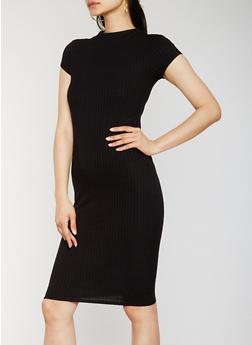 Funnel Neck Rib Knit Midi Dress - BLACK - 0094061639515