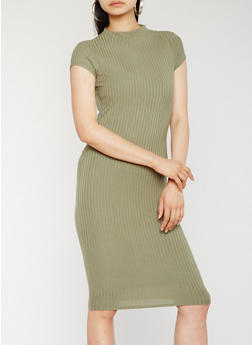 Funnel Neck Rib Knit Midi Dress - OLIVE - 0094061639515