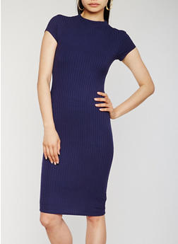 Funnel Neck Rib Knit Midi Dress - 0094061639515