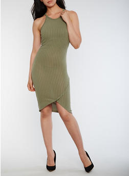Sleeveless Rib Knit Bodycon Dress - OLIVE - 0094061639518