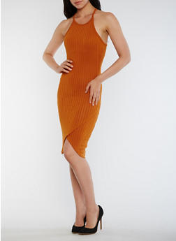 Sleeveless Rib Knit Bodycon Dress - 0094061639518