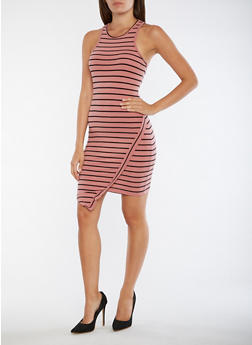 Striped Asymmetrical Hem Tank Dress - 0094061639578