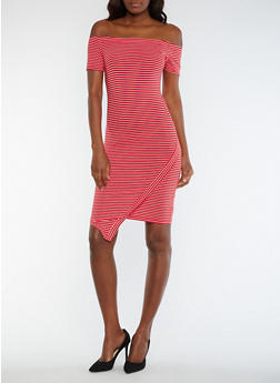 Striped Off the Shoulder Asymmetrical Dress - 0094061639580