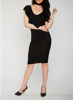 Sleeveless Ruffle V Neck Bodycon Dress with Caged Back Detail - 0094061639582