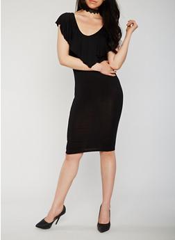 Sleeveless Ruffle V Neck Bodycon Dress with Caged Back Detail - BLACK - 0094061639582