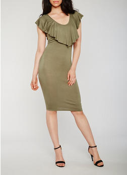 Sleeveless Ruffle V Neck Bodycon Dress with Caged Back Detail - OLIVE - 0094061639582