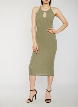 Sleeveless Midi Dress with Keyhole - OLIVE - 0094061639583