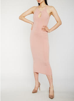 Sleeveless Midi Dress with Keyhole - 0094061639583