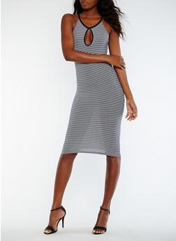 Striped Midi Tank Dress with Keyhole - 0094061639584