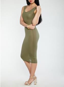 Rib Knit Mid Length Tank Dress - 0094061639659