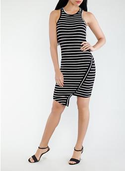 Striped Asymmetrical Tank Dress - 0094061639668