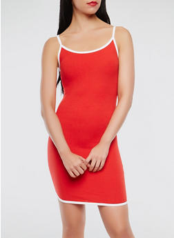 Contrast Trim Tank Dress - 0094061639674
