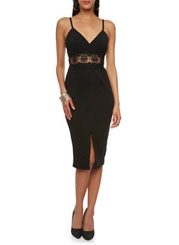 Textural Bodycon Dress with Crochet Empire Waist and V-Neck - 0094069390112