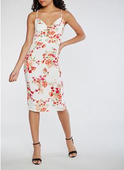 Soft Knit Floral Slip Dress - 0094069390179
