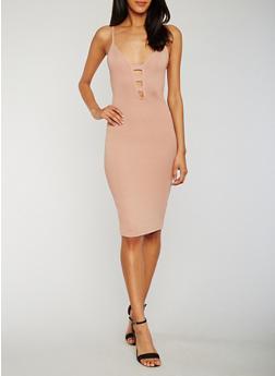 Sleeveless Rib Knit Caged Front Dress - 0094069390273