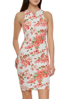 Textural Bodycon Dress with Floral Print Throughout - 0094069390356