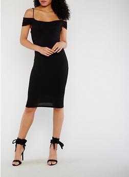 Solid Off the Shoulder Bodycon Dress - BLACK - 0094069391016