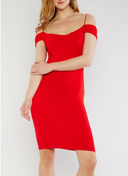 Solid Off the Shoulder Bodycon Dress - 0094069391016