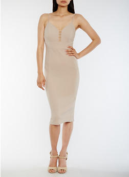 Solid Caged V Neck Midi Dress - 0094069391280