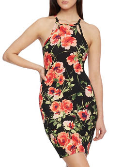 Floral Print Dress with Cutout Straps - 0094069392260