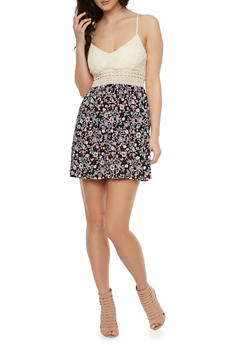 Crochet Mini Dress with Floral Skirt - 0094069392348