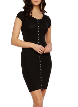 Ribbed Dress with Snap Front - 0094069392355