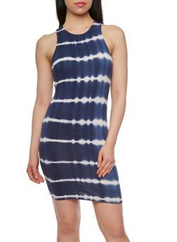 Racerback Striped Tie Dye Dress - 0094069392494