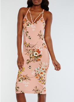 Floral Caged Neck Bodycon Dress - 0094069392726