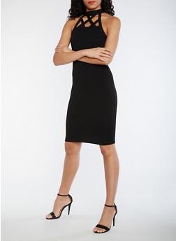 Caged Midi Bodycon Dress - BLACK - 0094069392878
