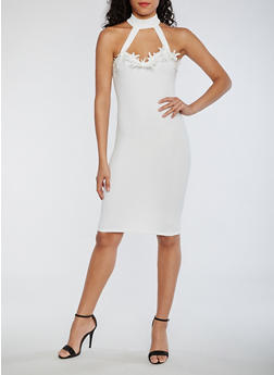 Soft Knit Choker Dress with Crochet Trim - IVORY - 0094069392882