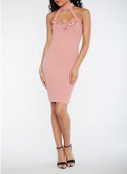 Soft Knit Choker Dress with Crochet Trim - MAUVE - 0094069392882
