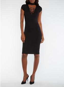 Solid Rib Knit Choker Bodycon Dress - BLACK - 0094069392889
