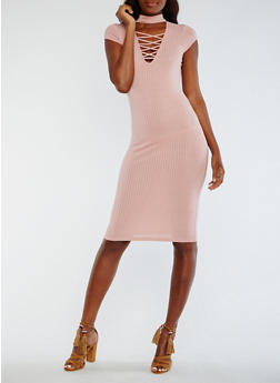 Solid Rib Knit Choker Bodycon Dress - DUSTY PINK - 0094069392889