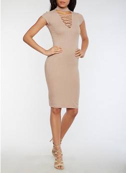 Solid Rib Knit Choker Bodycon Dress - 0094069392889