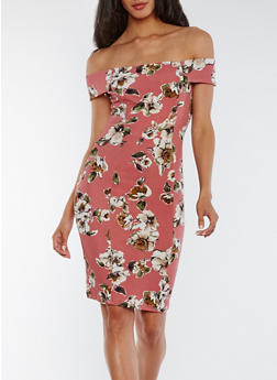 Off the Shoulder Floral Bodycon Dress - 0094069392897
