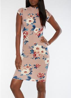 Short Sleeve Floral Print Midi Dress with Keyhole Back - 0094069392922