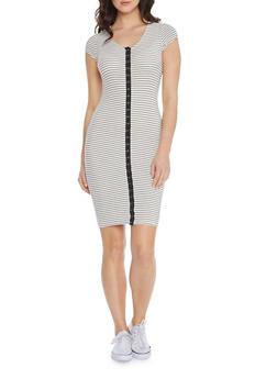 Bodycon Midi Dress in Striped Ribbed Knit - 0094069393355