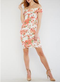 Off the Shoulder Floral Knit Dress - 0094069393899