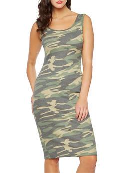 Sleeveless Camo Midi Dress - 0094072895012