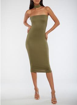 Choker Neck Bodycon Dress - 0094073371102