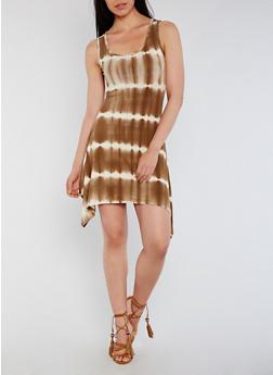 Sleeveless Tie Dye Sharkbite Hem Mini Dress - 0094073371107