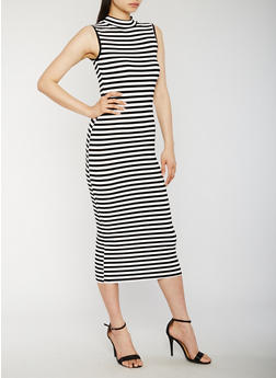 Striped Mock Neck Maxi Dress - 0094073371953