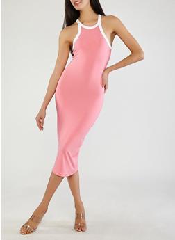 Soft Knit Contrast Trim Bodycon Dress - 0094073374612