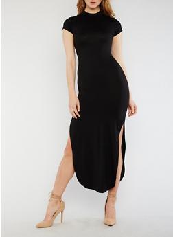 Short Sleeve Mock Neck Open Back Dress - 0094073378262