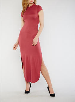 Short Sleeve Mock Neck Open Back Dress - 0094073378262
