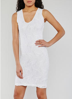 Sleeveless Lace V Neck Sheath Dress - WHITE - 0096038347883