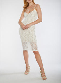 Caged Lace Bodycon Dress - IVORY/NUDE - 0096038347884