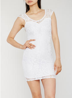 Cap Sleeve Lace Sheath Dress - WHITE - 0096038347886