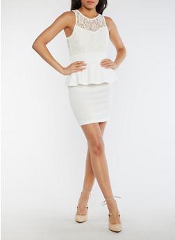 Sleeveless Lace Peplum Dress - WHITE - 0096038347887
