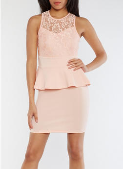 Sleeveless Lace Peplum Dress - BLUSH - 0096038347887